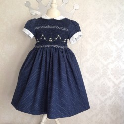 smocked dress girl blue point white