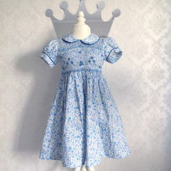 smocked dress girl blue liberty