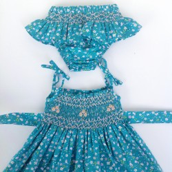 smocked dress girl LIBERTY green
