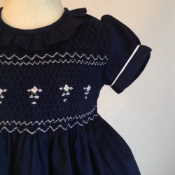 smocked dress girl stripes