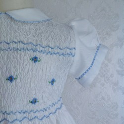 smocked dress girl white