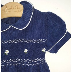 smocked dress girl blue